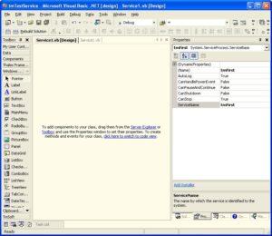 Il designer per la creazione del servizio Windows con VB.NET