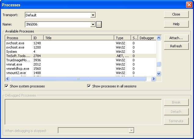 Il tool Processes che ci permette di avviare il servizio da debuggare
