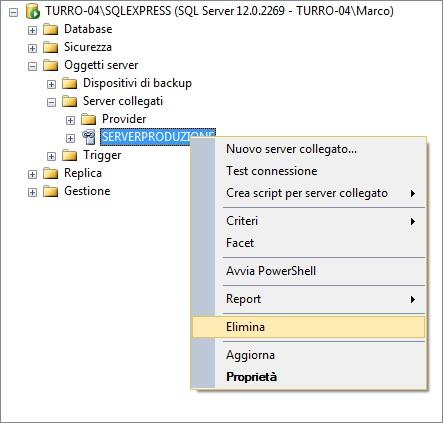 Scegliere la voce Elimina dal menu contestuale per eliminare un server collegato