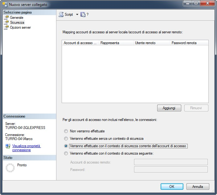 """Il tab """"Sicurezza"""" definisce l'eventuale contesto di sicurezza da usare per collegarsi al server remoto"""
