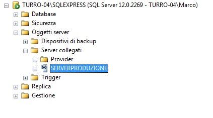 Il nuovo server collegato apparirà nel nodo Server collegati