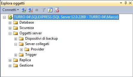 """Per gestire i server collegati, in """"Esplora oggetti"""", scegliamo il nodo """"Oggetti server"""", quindi """"Server collegati"""""""