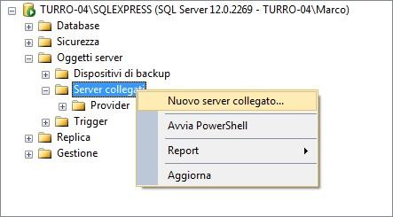 """""""Nuovo server collegato"""" è la voce del menu che ci permette di creare un nuovo server collegato"""