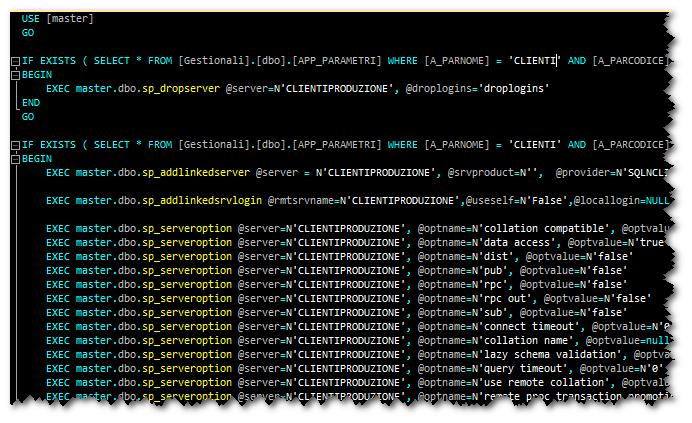 Server collegati da codice Transact Sql