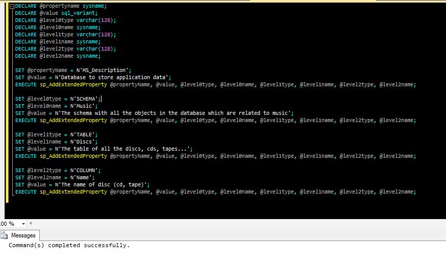 La sp_AddExtendedProperty valorizza la proprietà estesa per l'oggetto indicato