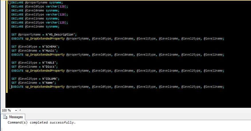la sp_DropExtendedProperty rimuove una proprietà estesa da un oggetto