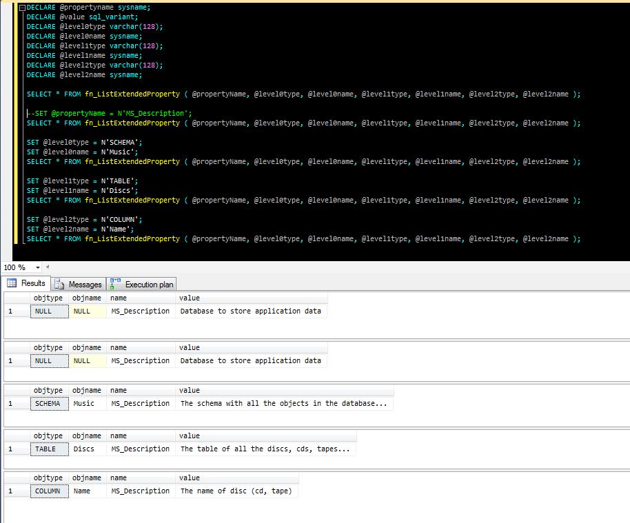 La function fn_listextendedproperty che restituisce la documentazione relativa agli oggetti du un database