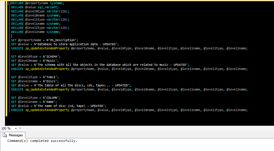 La sp_UpdateExtendedProperty aggiorna le proprietà estese di un oggetto