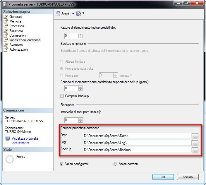 Tra le proprietà di un'istanza Sql Server vi sono le directory predefinite per file di dati, log e backup